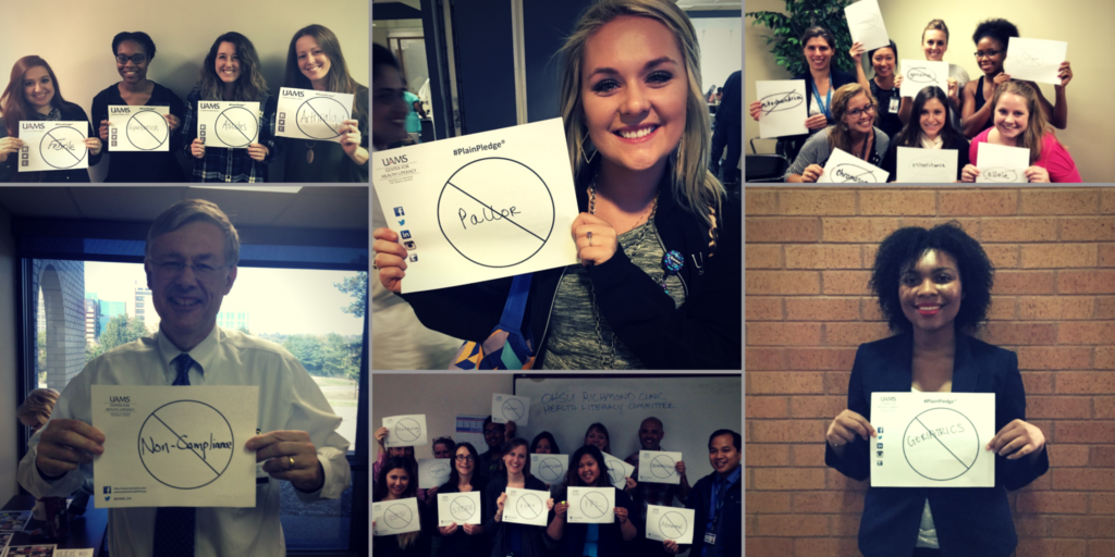 Collage of people taking the #PlainPledge by holding up word busters with a word they pledge not to use.